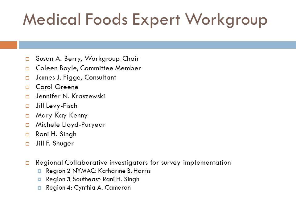 Medical Foods Expert Workgroup  Susan A.