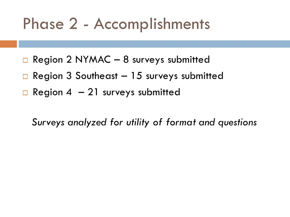 Phase 2 - Accomplishments  Region 2 NYMAC – 8 surveys submitted  Region 3 Southeast – 15 surveys submitted  Region 4 – 21 surveys submitted Surveys analyzed for utility of format and questions