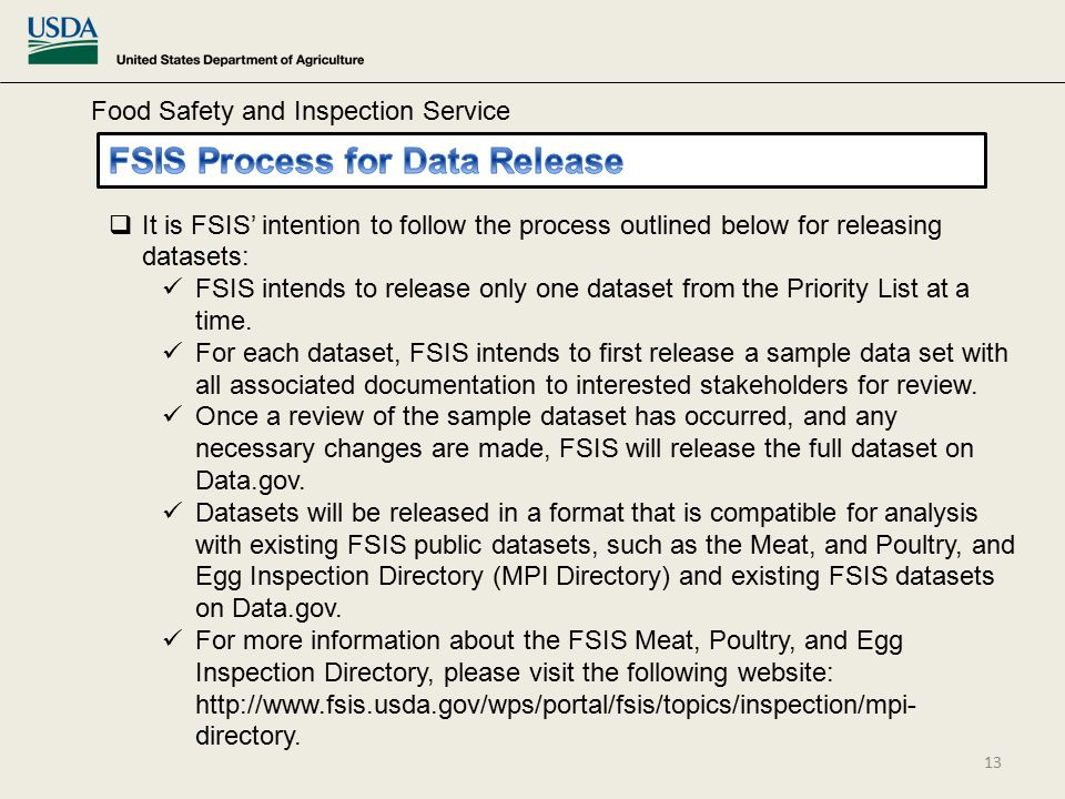 Food Safety and Inspection Service  It is FSIS' intention to follow the process outlined below for releasing datasets: FSIS intends to release only one dataset from the Priority List at a time.