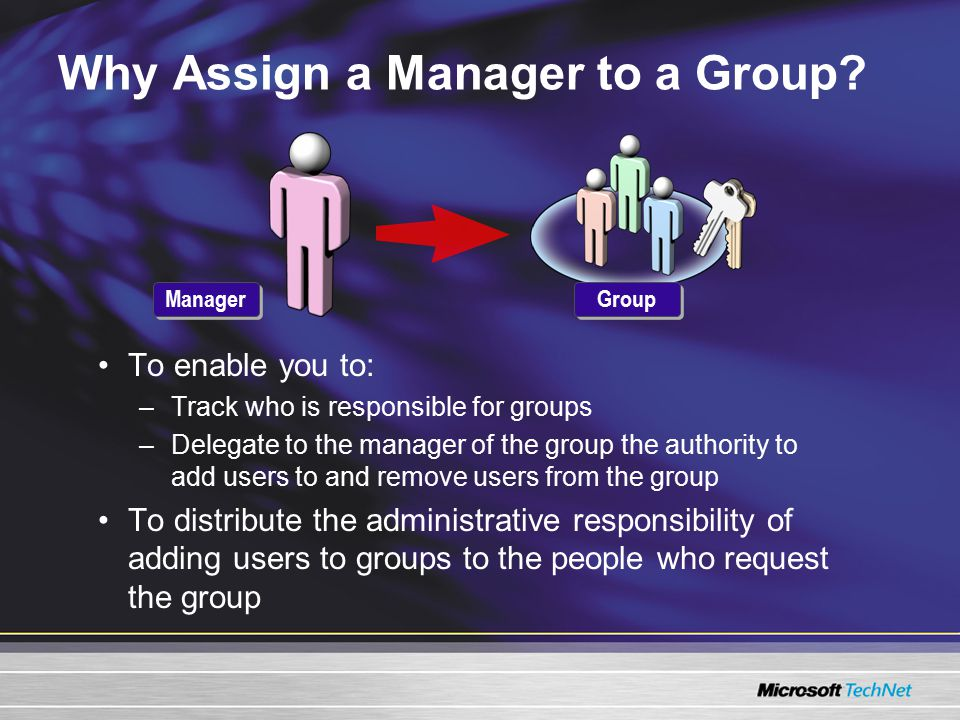 Why Assign a Manager to a Group? To enable you to: –Track who is responsible for groups –Delegate to the manager of the group the authority to add use