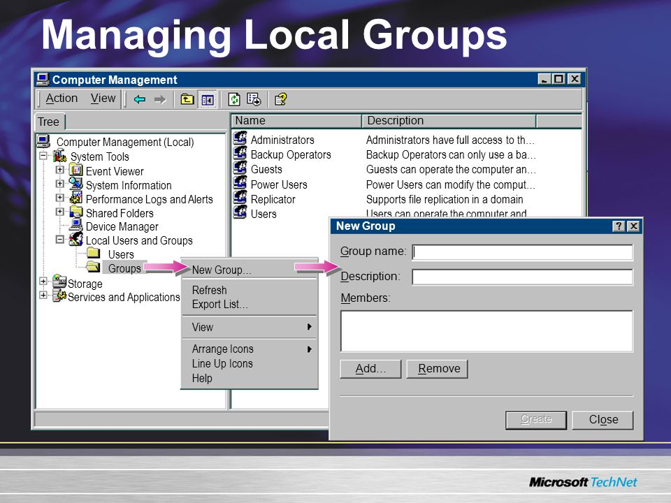 Modifying Groups Changing Group Scope –Global to universal –Domain local to universal –Universal to global –Universal to domain local –Available in native mode Changing Group Type –Security to distribution –Distribution to security –Available in native mode Deleting a Group –Deletes the group but not the objects that are members –Cannot restore a group and its permissions