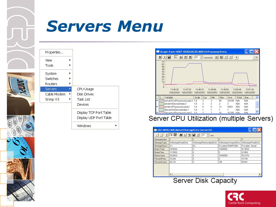 Servers Menu Server CPU Utilization (multiple Servers) Server Disk Capacity