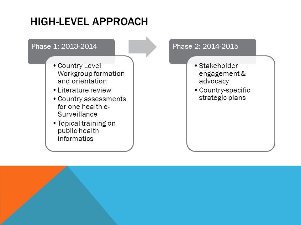 HIGH-LEVEL APPROACH Phase 1: 2013-2014 Country Level Workgroup formation and orientation Literature review Country assessments for one health e- Surve