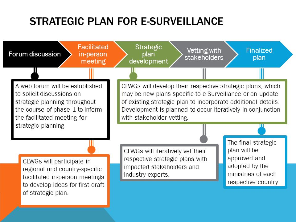 STRATEGIC PLAN FOR E-SURVEILLANCE The final strategic plan will be approved and adopted by the ministries of each respective country Forum discussion Facilitated in-person meeting Strategic plan development Vetting with stakeholders Finalized plan A web forum will be established to solicit discussions on strategic planning throughout the course of phase 1 to inform the facilitated meeting for strategic planning CLWGs will participate in regional and country-specific facilitated in-person meetings to develop ideas for first draft of strategic plan.