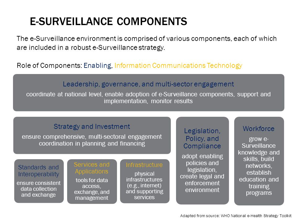 E-SURVEILLANCE COMPONENTS Leadership, governance, and multi-sector engagement coordinate at national level, enable adoption of e-Surveillance components, support and implementation, monitor results Strategy and Investment ensure comprehensive, multi-sectoral engagement coordination in planning and financing Standards and Interoperability ensure consistent data collection and exchange Services and Applications tools for data access, exchange, and management Infrastructure physical infrastructures (e.g., internet) and supporting services Legislation, Policy, and Compliance adopt enabling policies and legislation, create legal and enforcement environment Workforce grow e- Surveillance knowledge and skills, build networks, establish education and training programs Adapted from source: WHO National e-Health Strategy Toolkit The e-Surveillance environment is comprised of various components, each of which are included in a robust e-Surveillance strategy.