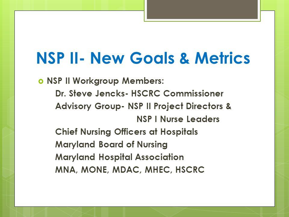 NSP II- New Goals & Metrics  NSP II Workgroup Members: Dr.