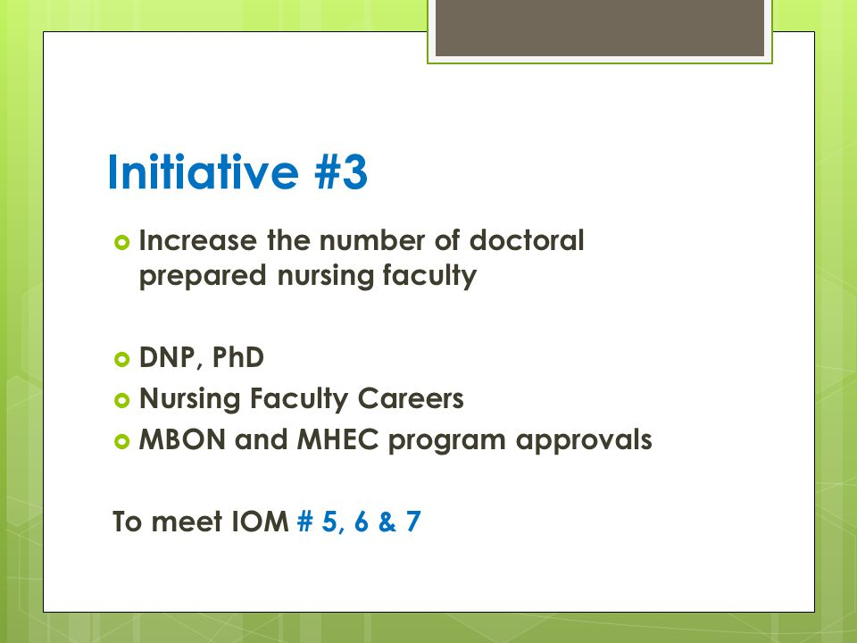 Initiative #3  Increase the number of doctoral prepared nursing faculty  DNP, PhD  Nursing Faculty Careers  MBON and MHEC program approvals To meet IOM # 5, 6 & 7