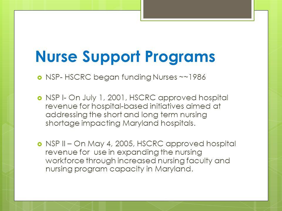 Nurse Support Programs  NSP- HSCRC began funding Nurses ~~1986  NSP I- On July 1, 2001, HSCRC approved hospital revenue for hospital-based initiatives aimed at addressing the short and long term nursing shortage impacting Maryland hospitals.