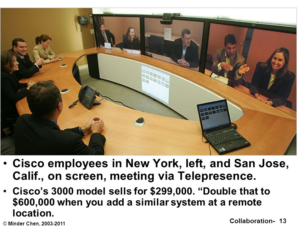 Collaboration- 13 © Minder Chen, 2003-2011 Cisco employees in New York, left, and San Jose, Calif., on screen, meeting via Telepresence.