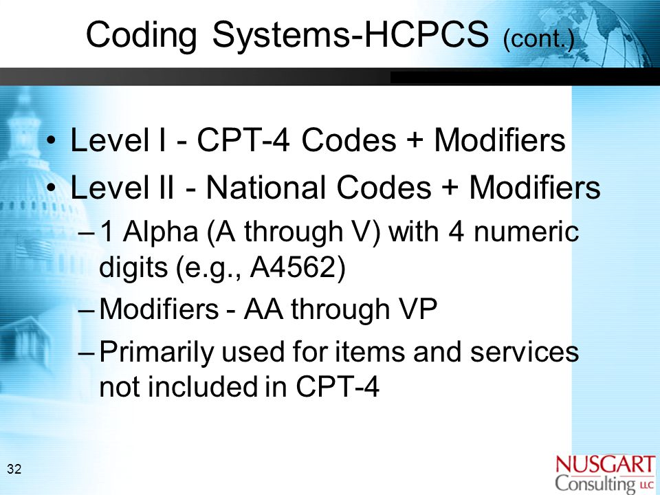 32 Coding Systems-HCPCS (cont.) Level I - CPT-4 Codes + Modifiers Level II - National Codes + Modifiers –1 Alpha (A through V) with 4 numeric digits (e.g., A4562) –Modifiers - AA through VP –Primarily used for items and services not included in CPT-4