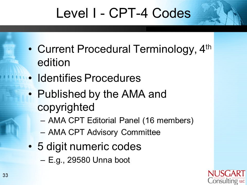 33 Level I - CPT-4 Codes Current Procedural Terminology, 4 th edition Identifies Procedures Published by the AMA and copyrighted –AMA CPT Editorial Panel (16 members) –AMA CPT Advisory Committee 5 digit numeric codes –E.g., 29580 Unna boot