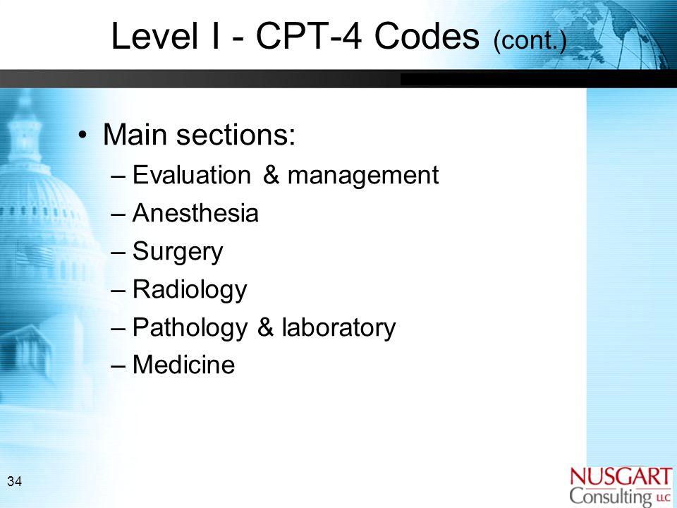 34 Level I - CPT-4 Codes (cont.) Main sections: –Evaluation & management –Anesthesia –Surgery –Radiology –Pathology & laboratory –Medicine