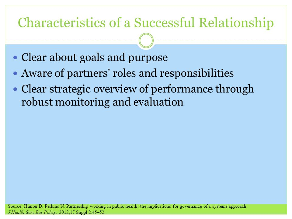 Characteristics of a Successful Relationship Clear about goals and purpose Aware of partners roles and responsibilities Clear strategic overview of performance through robust monitoring and evaluation Source: Hunter D, Perkins N.