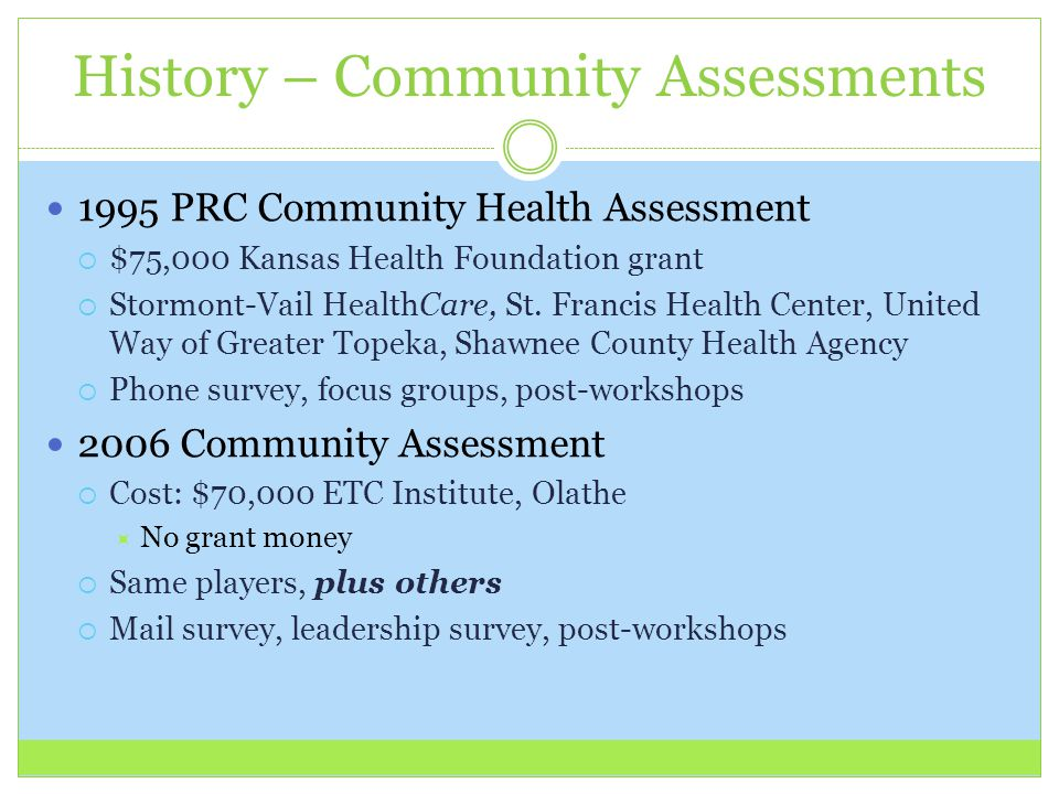 History – Community Assessments 1995 PRC Community Health Assessment  $75,000 Kansas Health Foundation grant  Stormont-Vail HealthCare, St.
