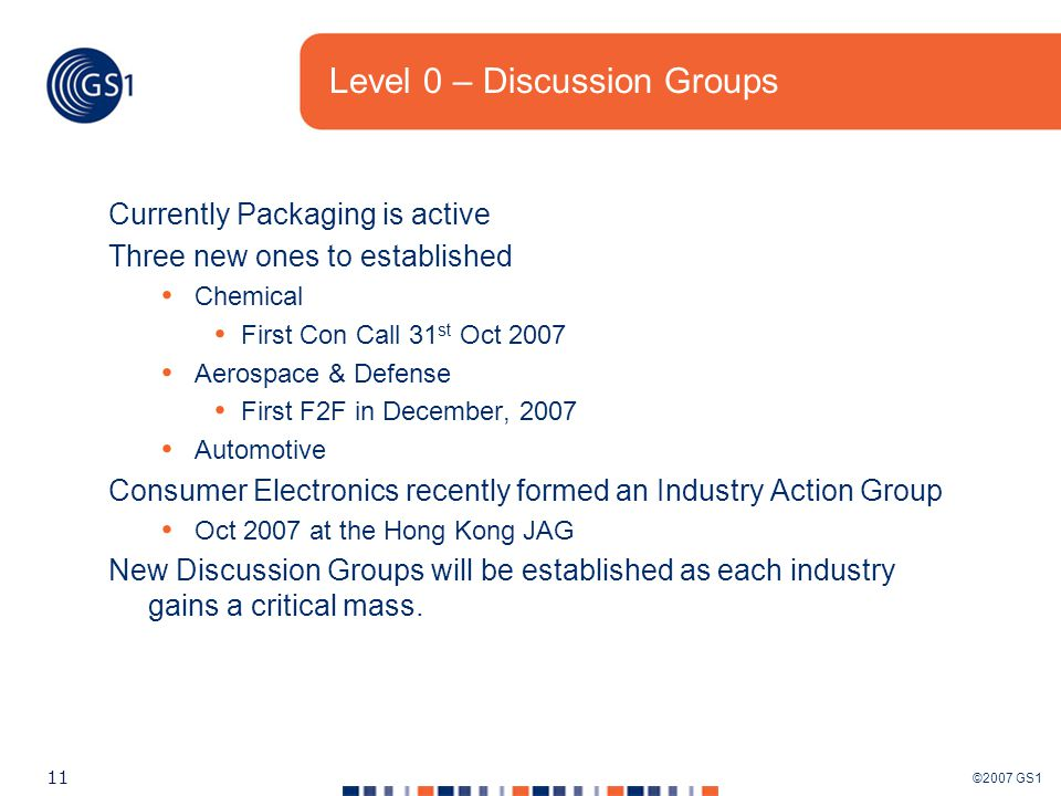 ©2007 GS1 11 Level 0 – Discussion Groups Currently Packaging is active Three new ones to established Chemical First Con Call 31 st Oct 2007 Aerospace & Defense First F2F in December, 2007 Automotive Consumer Electronics recently formed an Industry Action Group Oct 2007 at the Hong Kong JAG New Discussion Groups will be established as each industry gains a critical mass.