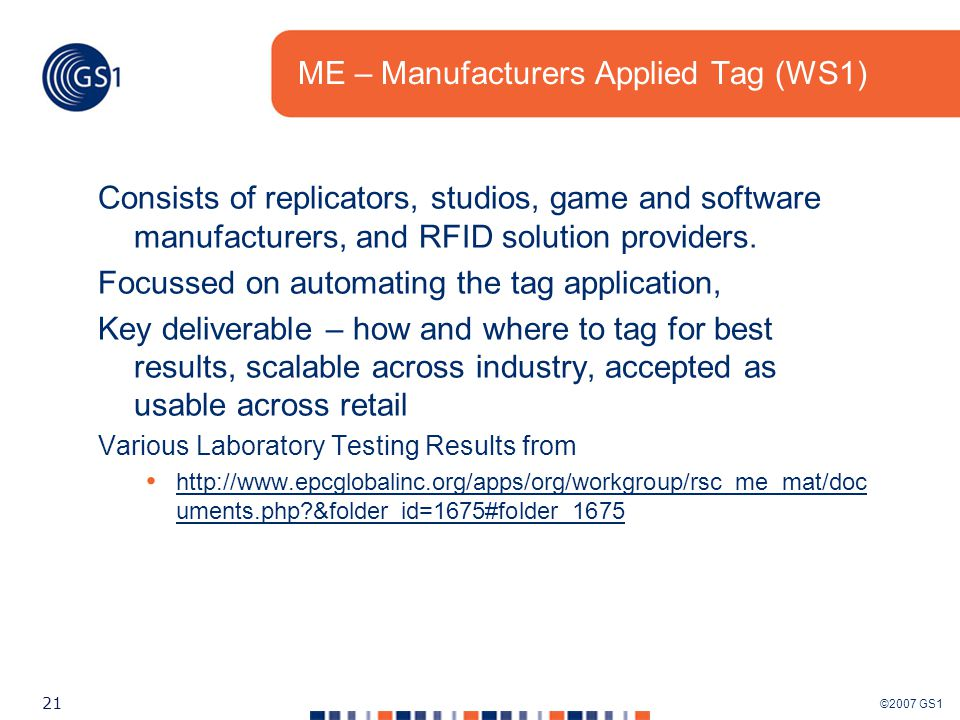 ©2007 GS1 21 ME – Manufacturers Applied Tag (WS1) Consists of replicators, studios, game and software manufacturers, and RFID solution providers.