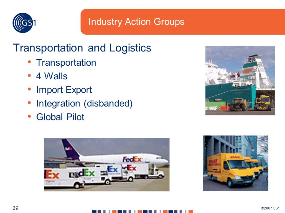©2007 GS1 29 Industry Action Groups Transportation and Logistics Transportation 4 Walls Import Export Integration (disbanded) Global Pilot