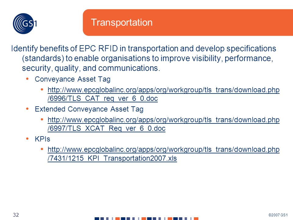 ©2007 GS1 32 Transportation Identify benefits of EPC RFID in transportation and develop specifications (standards) to enable organisations to improve visibility, performance, security, quality, and communications.