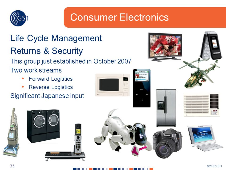 ©2007 GS1 35 Consumer Electronics Life Cycle Management Returns & Security This group just established in October 2007 Two work streams Forward Logistics Reverse Logistics Significant Japanese input