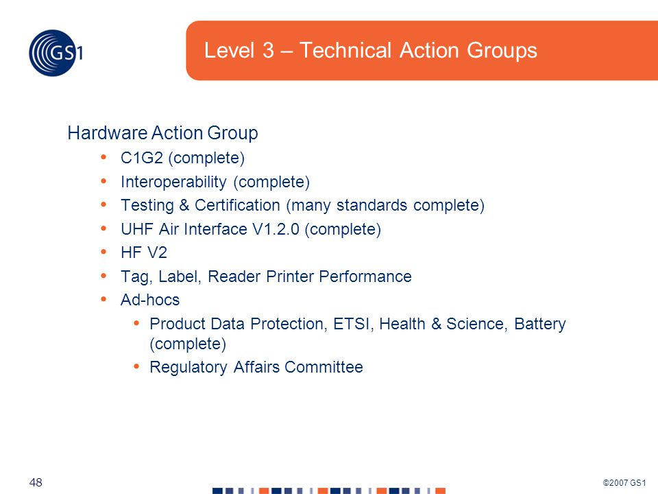 ©2007 GS1 48 Level 3 – Technical Action Groups Hardware Action Group C1G2 (complete) Interoperability (complete) Testing & Certification (many standards complete) UHF Air Interface V1.2.0 (complete) HF V2 Tag, Label, Reader Printer Performance Ad-hocs Product Data Protection, ETSI, Health & Science, Battery (complete) Regulatory Affairs Committee