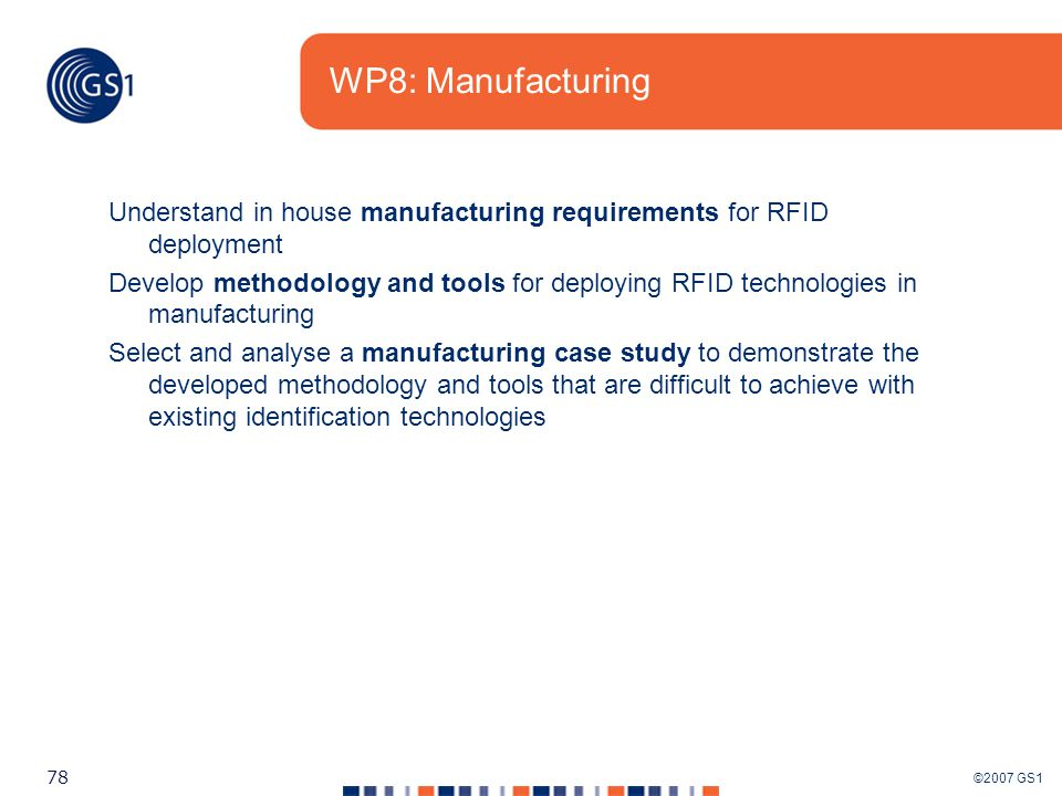 ©2007 GS1 78 WP8: Manufacturing Understand in house manufacturing requirements for RFID deployment Develop methodology and tools for deploying RFID technologies in manufacturing Select and analyse a manufacturing case study to demonstrate the developed methodology and tools that are difficult to achieve with existing identification technologies