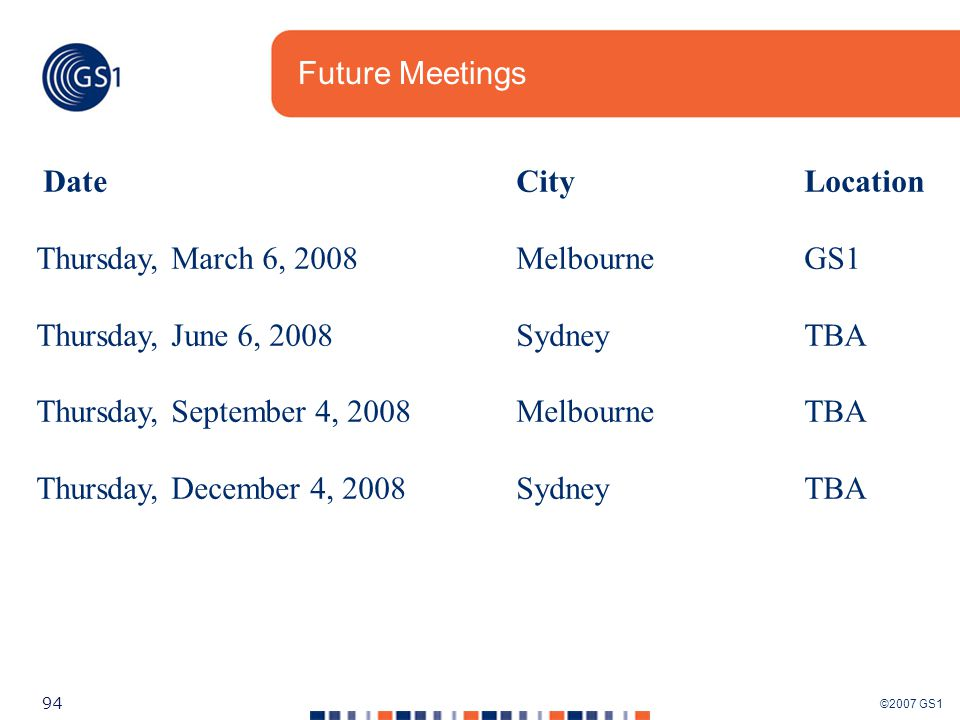 ©2007 GS1 94 Future Meetings DateCityLocation Thursday, March 6, 2008MelbourneGS1 Thursday, June 6, 2008SydneyTBA Thursday, September 4, 2008MelbourneTBA Thursday, December 4, 2008SydneyTBA