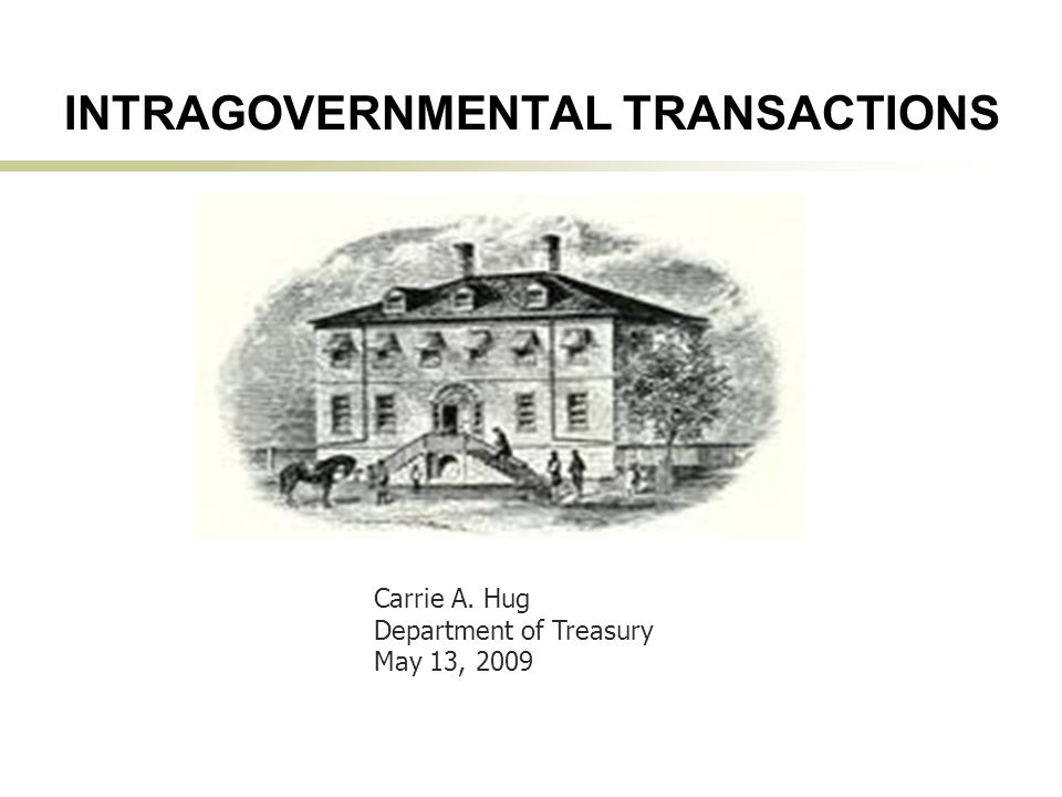 1 INTRAGOVERNMENTAL TRANSACTIONS Carrie A. Hug Department of Treasury May 13, 2009