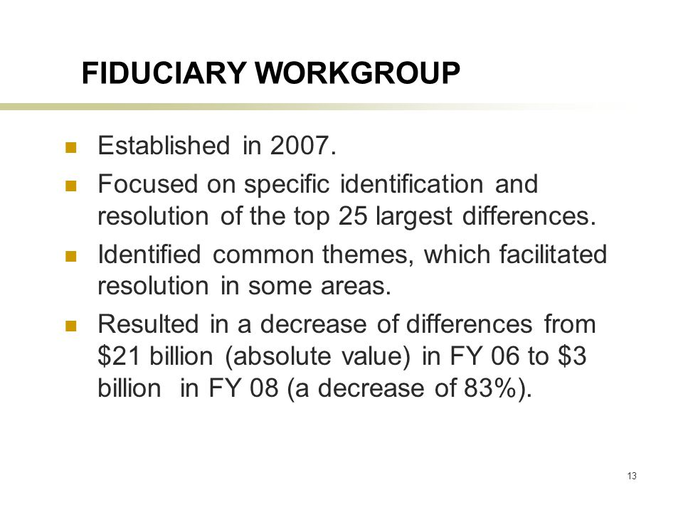 13 FIDUCIARY WORKGROUP Established in 2007.