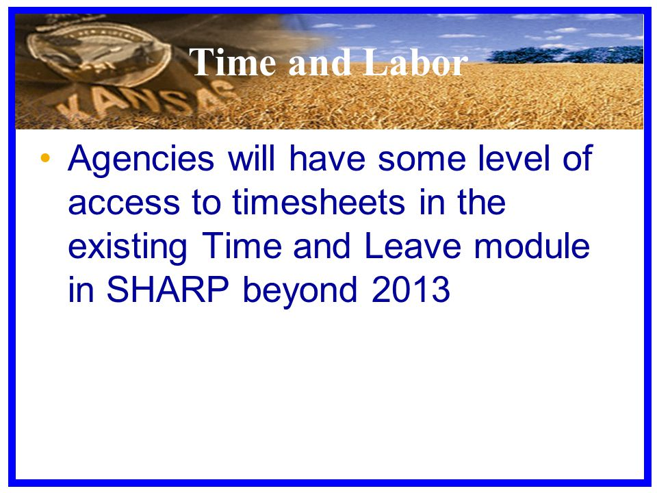 Time and Labor Agencies will have some level of access to timesheets in the existing Time and Leave module in SHARP beyond 2013