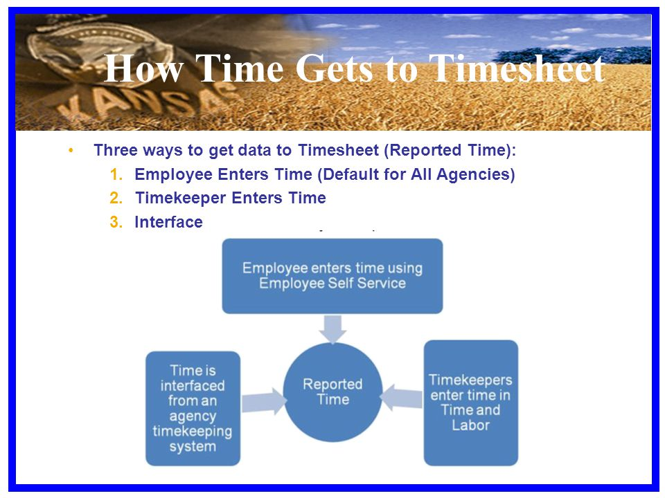 How Time Gets to Timesheet Three ways to get data to Timesheet (Reported Time): 1.Employee Enters Time (Default for All Agencies) 2.Timekeeper Enters