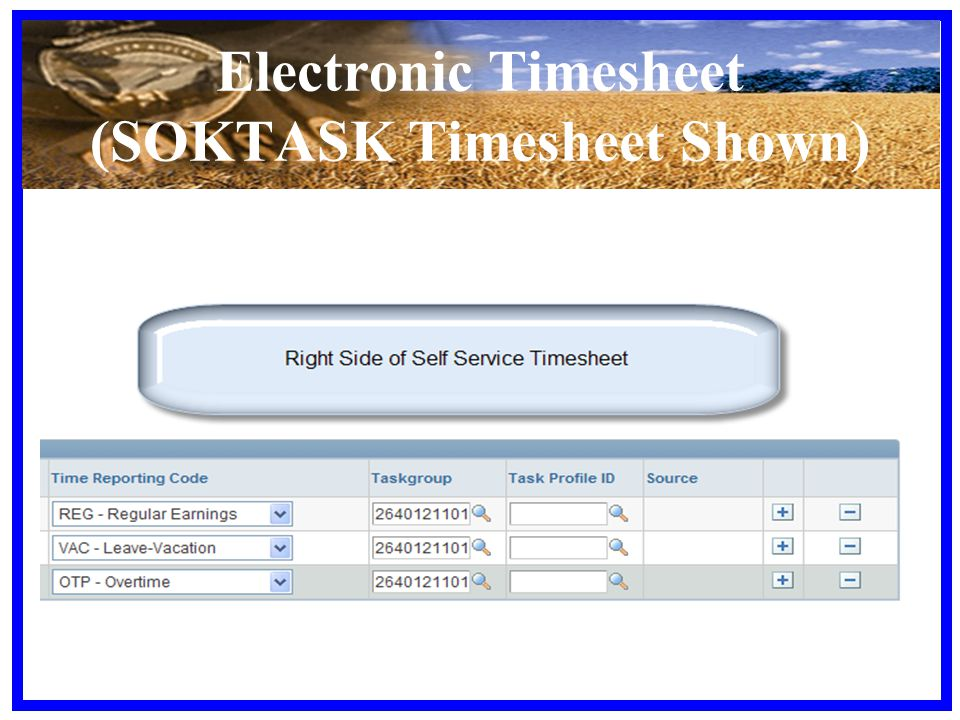 Electronic Timesheet (SOKTASK Timesheet Shown)