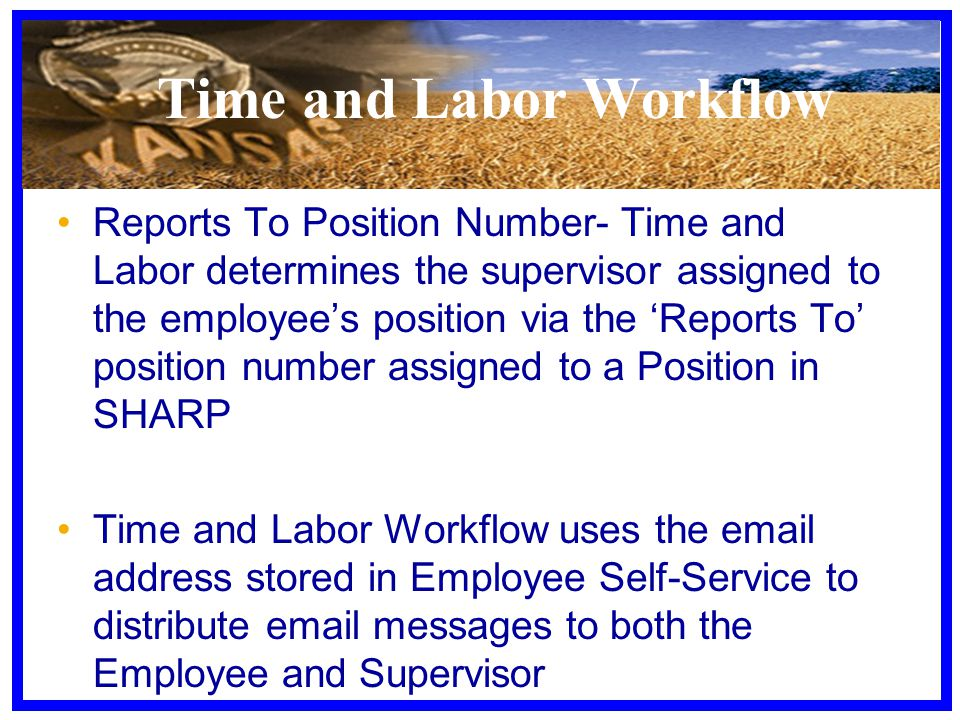 Reports To Position Number- Time and Labor determines the supervisor assigned to the employee's position via the 'Reports To' position number assigned