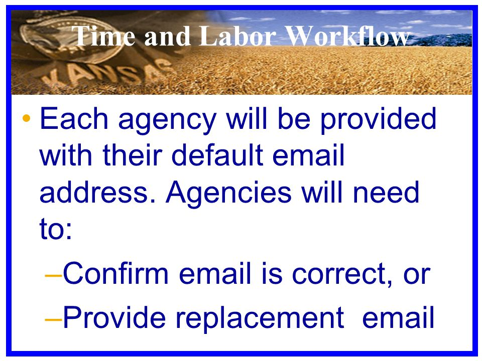 Time and Labor Workflow Each agency will be provided with their default email address. Agencies will need to: –Confirm email is correct, or –Provide r