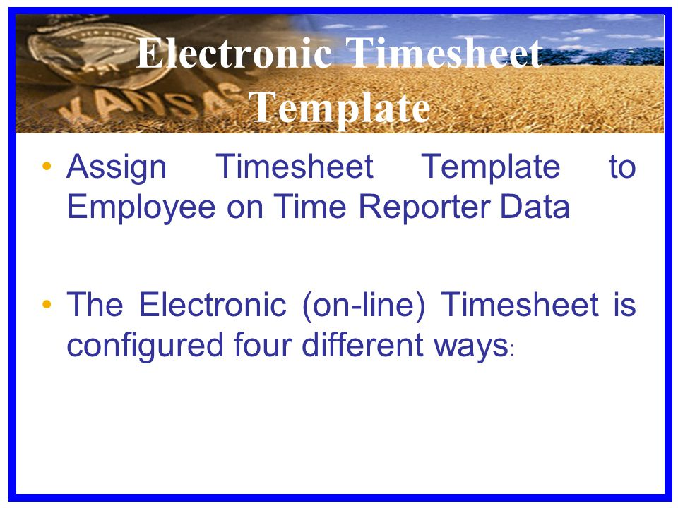 Electronic Timesheet Template Assign Timesheet Template to Employee on Time Reporter Data The Electronic (on-line) Timesheet is configured four differ
