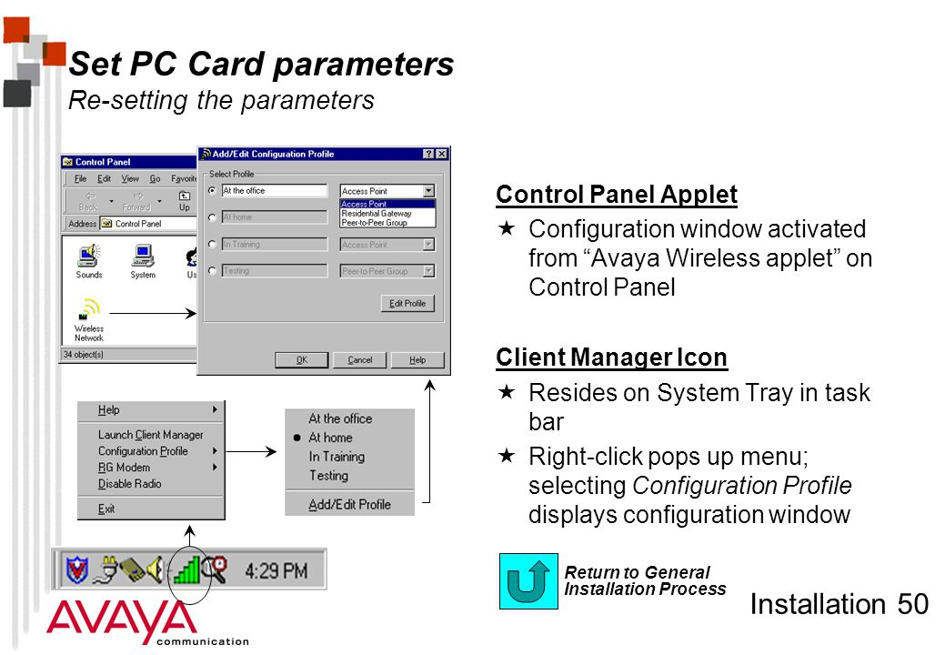 Installation 50 Return to General Installation Process Set PC Card parameters Re-setting the parameters Control Panel Applet  Configuration window ac