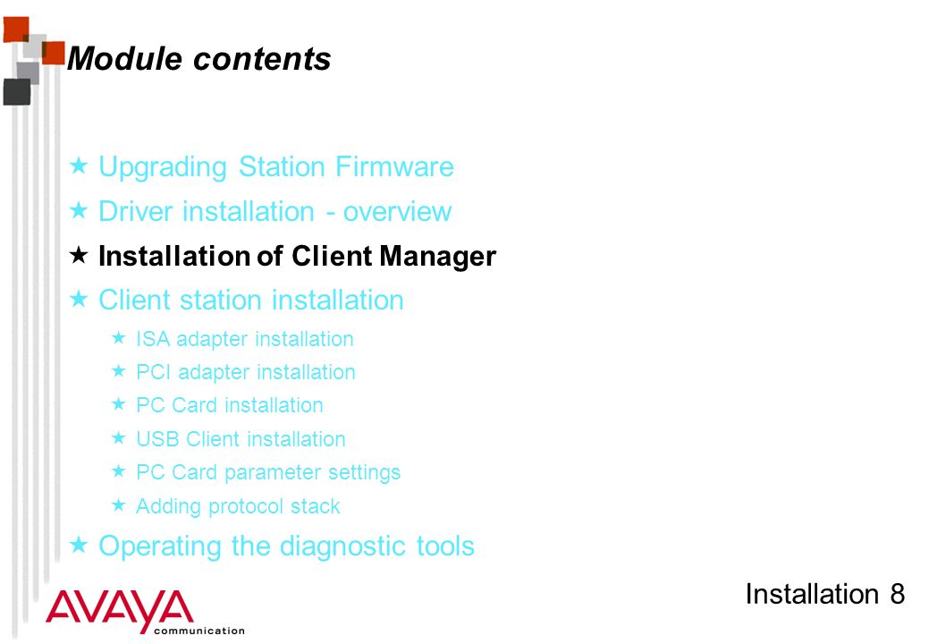 Installation 59 Avaya Wireless Client Manager (profile selection)  Alternatively profiles can be selected from the Actions item on the menu bar  Actions item also holds capability to add or change a configuration profile