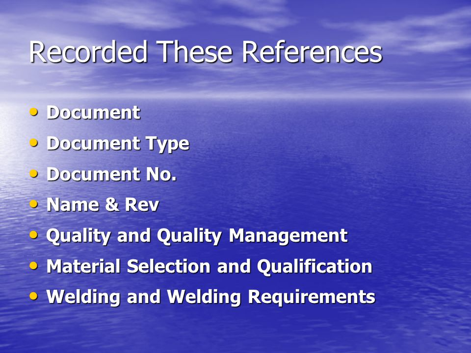 Recorded These References Document Document Document Type Document Type Document No.