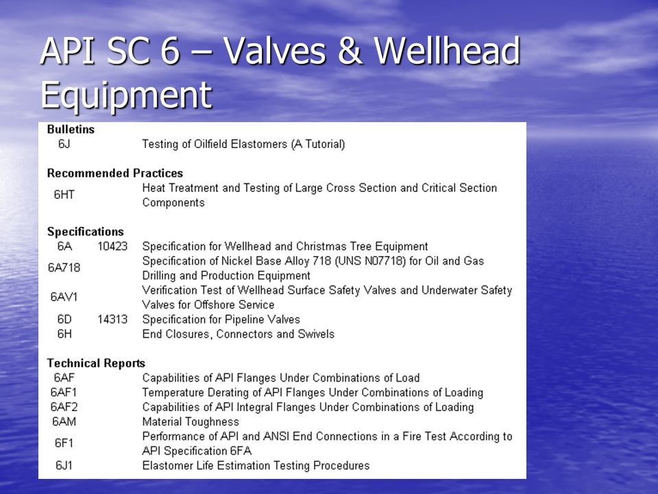 API SC 6 – Valves & Wellhead Equipment