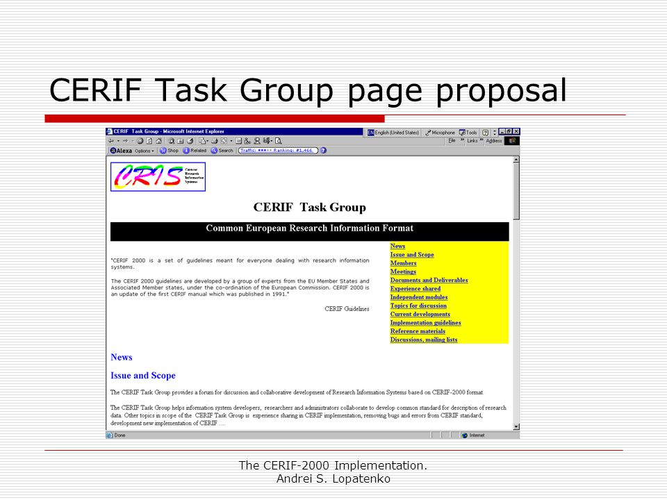 The CERIF-2000 Implementation. Andrei S. Lopatenko CERIF Task Group page proposal