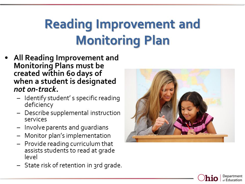 Reading Improvement and Monitoring Plan All Reading Improvement and Monitoring Plans must be created within 60 days of when a student is designated not on-track.