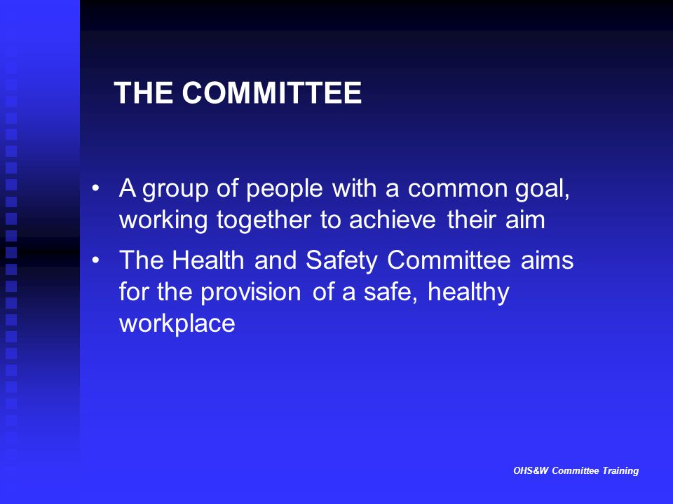 OHS&W Committee Training THE COMMITTEE A group of people with a common goal, working together to achieve their aim The Health and Safety Committee aim