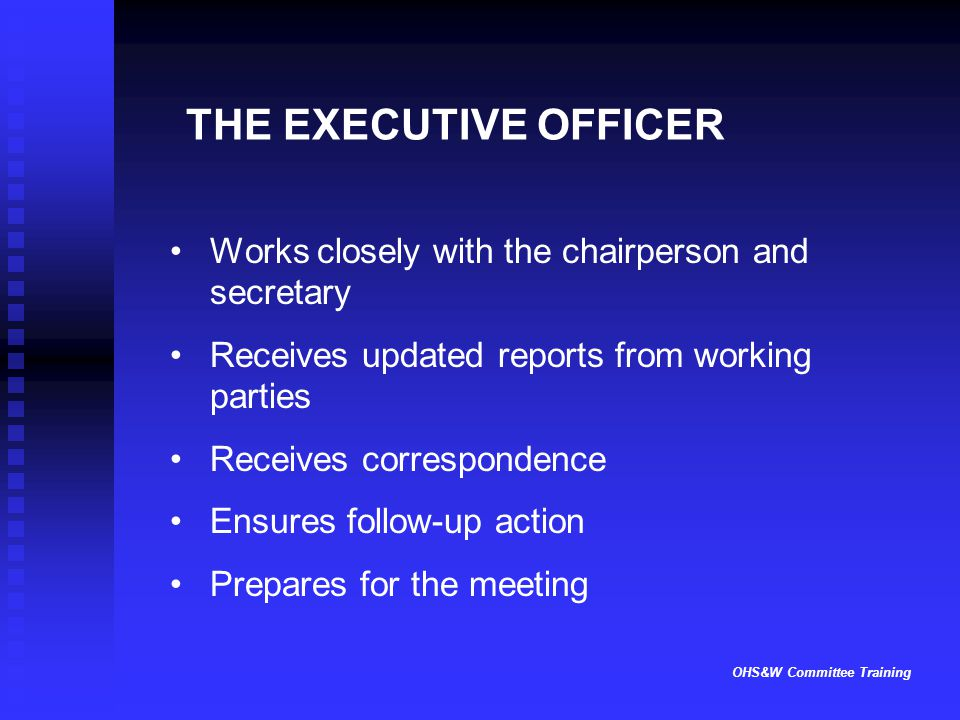 OHS&W Committee Training THE EXECUTIVE OFFICER Works closely with the chairperson and secretary Receives updated reports from working parties Receives