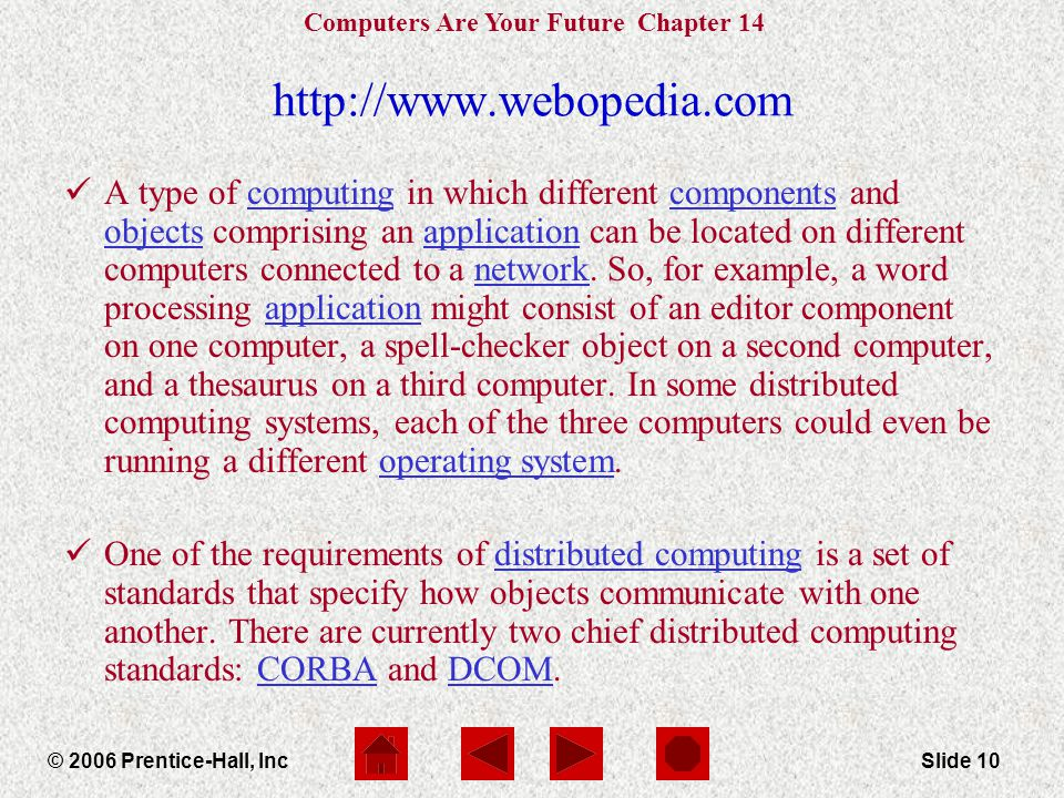 Computers Are Your Future Chapter 14 © 2006 Prentice-Hall, IncSlide 10 http://www.webopedia.com A type of computing in which different components and objects comprising an application can be located on different computers connected to a network.