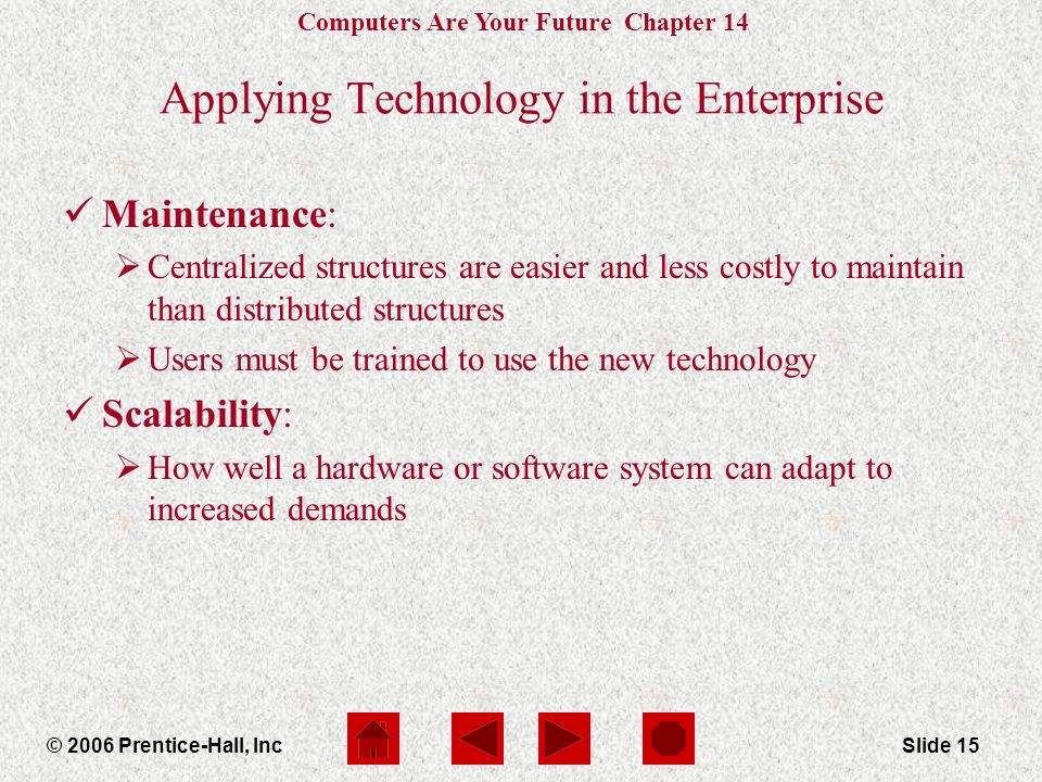 Computers Are Your Future Chapter 14 © 2006 Prentice-Hall, IncSlide 15 Applying Technology in the Enterprise Maintenance:  Centralized structures are easier and less costly to maintain than distributed structures  Users must be trained to use the new technology Scalability:  How well a hardware or software system can adapt to increased demands