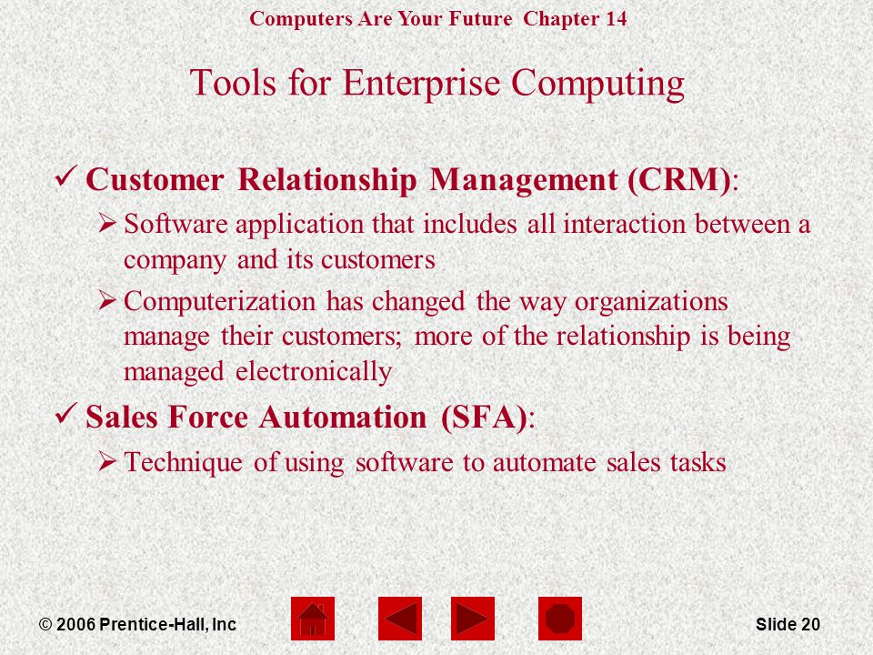 Computers Are Your Future Chapter 14 © 2006 Prentice-Hall, IncSlide 20 Tools for Enterprise Computing Customer Relationship Management (CRM):  Software application that includes all interaction between a company and its customers  Computerization has changed the way organizations manage their customers; more of the relationship is being managed electronically Sales Force Automation (SFA):  Technique of using software to automate sales tasks