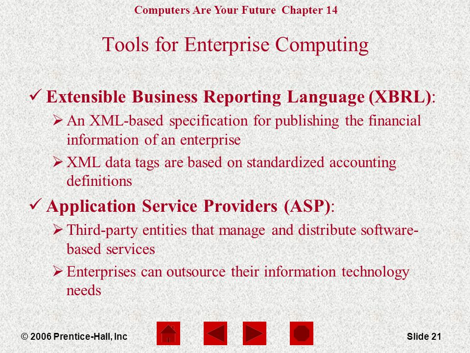 Computers Are Your Future Chapter 14 © 2006 Prentice-Hall, IncSlide 21 Tools for Enterprise Computing Extensible Business Reporting Language (XBRL):  An XML-based specification for publishing the financial information of an enterprise  XML data tags are based on standardized accounting definitions Application Service Providers (ASP):  Third-party entities that manage and distribute software- based services  Enterprises can outsource their information technology needs