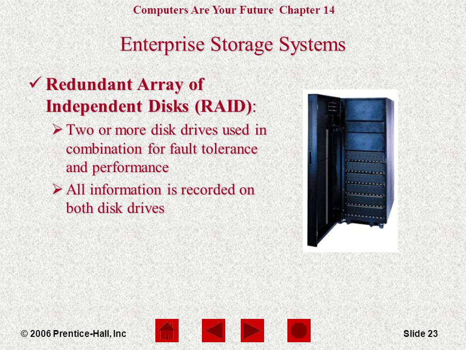 Computers Are Your Future Chapter 14 © 2006 Prentice-Hall, IncSlide 23 Enterprise Storage Systems Redundant Array of Independent Disks (RAID): Redundant Array of Independent Disks (RAID):  Two or more disk drives used in combination for fault tolerance and performance  All information is recorded on both disk drives