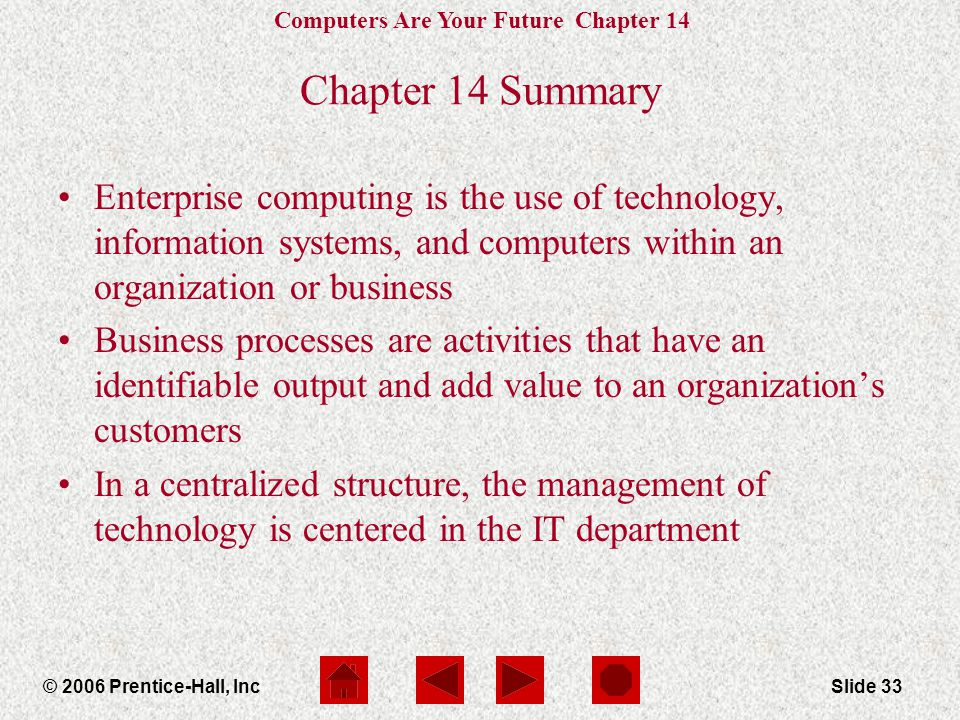 Computers Are Your Future Chapter 14 © 2006 Prentice-Hall, IncSlide 33 Chapter 14 Summary Enterprise computing is the use of technology, information systems, and computers within an organization or business Business processes are activities that have an identifiable output and add value to an organization's customers In a centralized structure, the management of technology is centered in the IT department