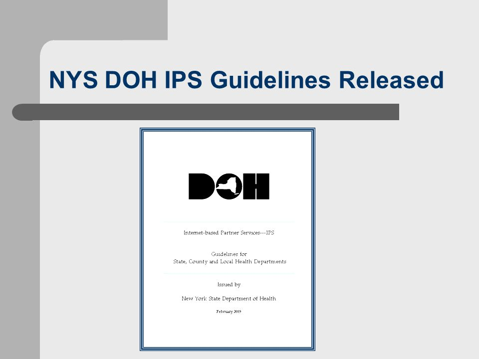 NYS DOH IPS Guidelines Released