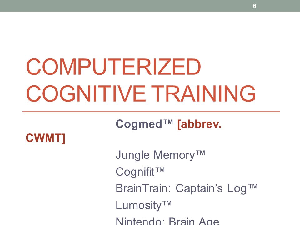 Features of Cogmed WM Training Intensive & adaptive training Adaptive: automatically, continuously adjusted in difficulty relative to individual's WM capacity Extensive repetition, practice, feedback – designed to enhance the development & efficiency of underlying neural substrates (for WM) Underlying assumption: improvements in WM will generalize or transfer to other tasks or activities that rely on the same neural networks or require WM (Klingberg, 2010) 7